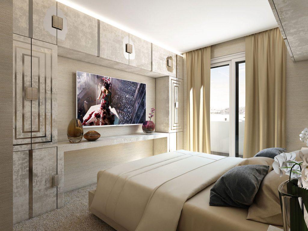 Wohnzimmer mit klappbarem Fernseher. Schiebeschrank mit TV ...